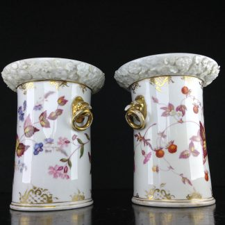 Pair of Coalport vases with birdshead handles, strawberries, c. 1830 -0