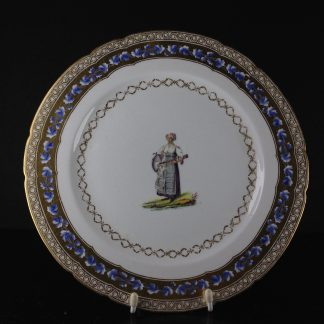 Chamberlains Worcester plate, French costume dec. by Baxter, c. 1805 -0