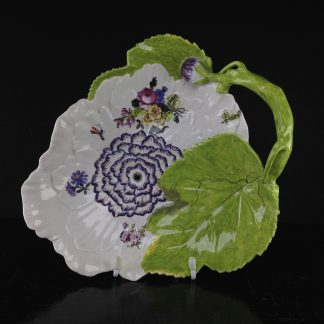 Chelsea peony flower dish, red anchor mark & period, c.1755 -0