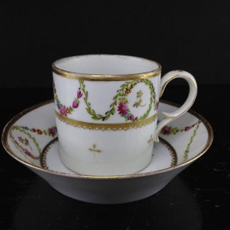 Niderviller coffee can & saucer, flower swags, c.1785 -0