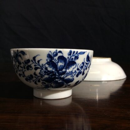 Lowestoft teabowl & saucer, after Worcester's Mansfield, c.1765 -650
