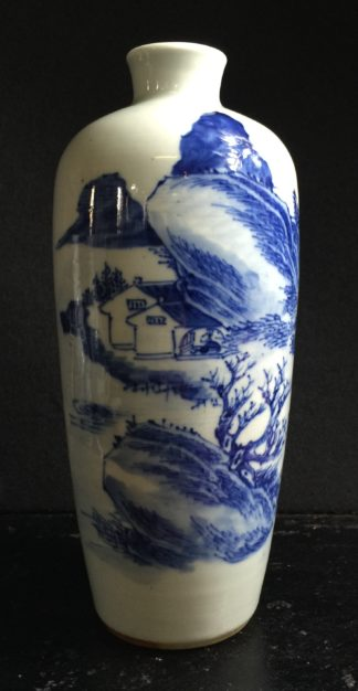 Chinese blue & white vase, landscape with verse, 19th century -0