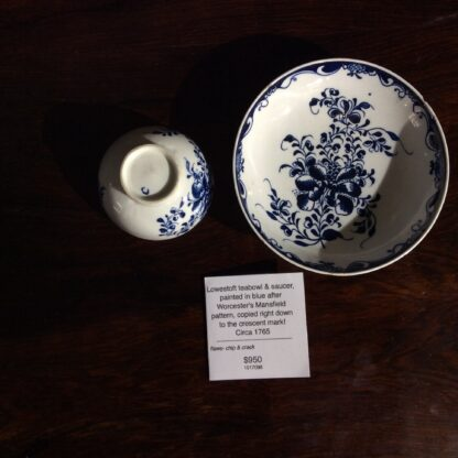 Lowestoft teabowl & saucer, after Worcester's Mansfield, c.1765 -651