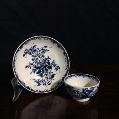 Lowestoft teabowl & saucer, after Worcester's Mansfield, c.1765 -0