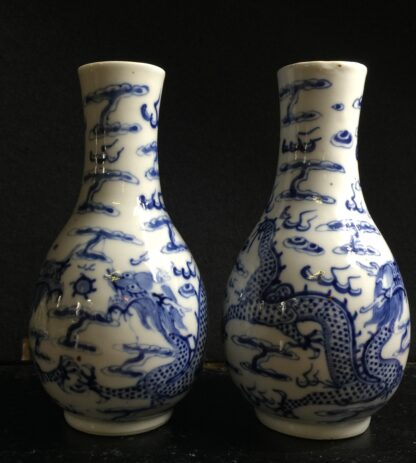 Chinese Export pair of vases, dragons, 19th century -0