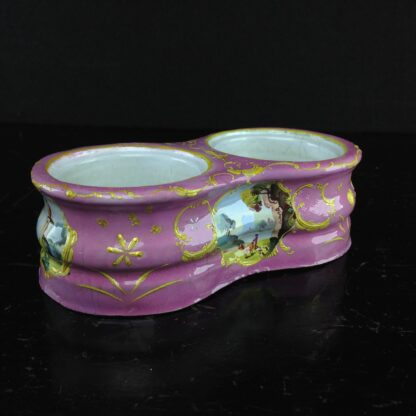 South Staffordshire enamel double salt, pink with scenes, C. 1780 -2306