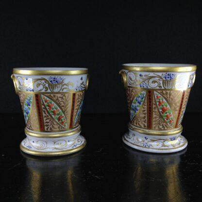 Pair of Coalport flower pots, London decorated, c.1805 -2537