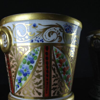 Pair of Coalport flower pots, London decorated, c.1805 -2541