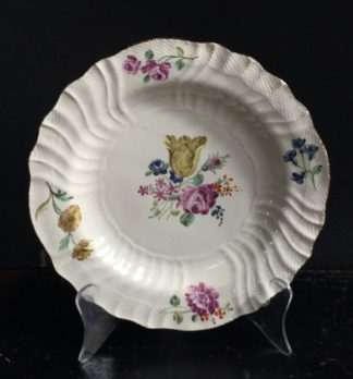 Chantilly plate with colourful flowers, C. 1755 -0