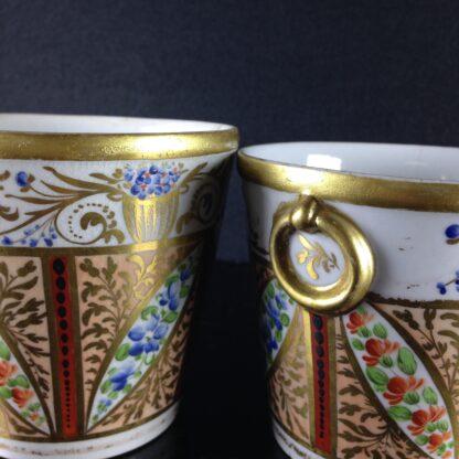 Pair of Coalport flower pots, London decorated, c.1805 -2545