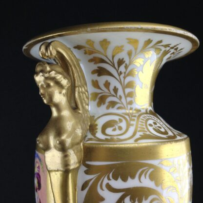 Davenport vase, winged handles & flower painting, c. 1825 -2778