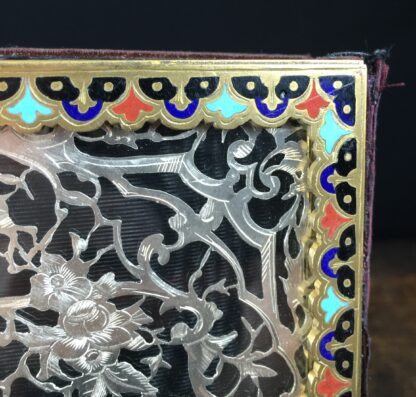 Elaborate champleve & silver fret blotter , c.1870-13185