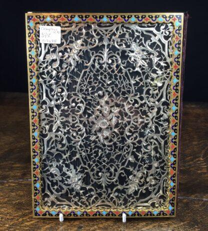 Elaborate champleve & silver fret blotter , c.1870-13187