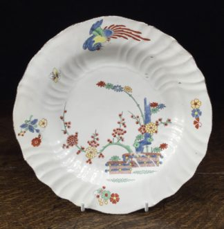 Chantilly kakiemon plate, banded hedge & phoenix, C. 1745 -0