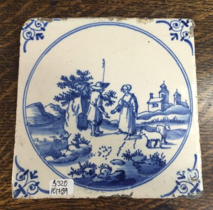 Dutch Delft tile, shepherd, c. 1700 -11934