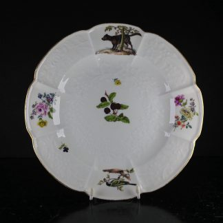 Meissen Gotzkowsky 'hunt service' plate with dog & bird, C. 1760 -0