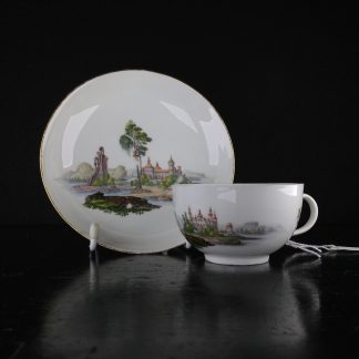Meissen topographical cup & saucer, Saxon palace, C. 1765 -0