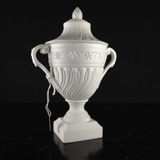 Mennecy unglazed porcelain classical covered urn, c.1765 -0