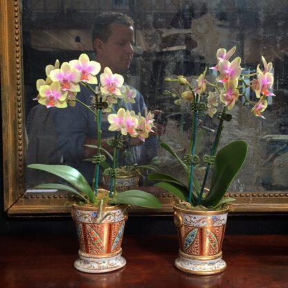 Pair of Coalport flower pots, London decorated, c.1805 -0