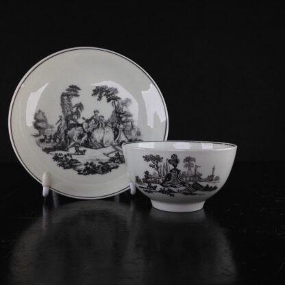 Worcester teabowl & saucer, Hancock's L'Amour prints, c. 1765 -3378