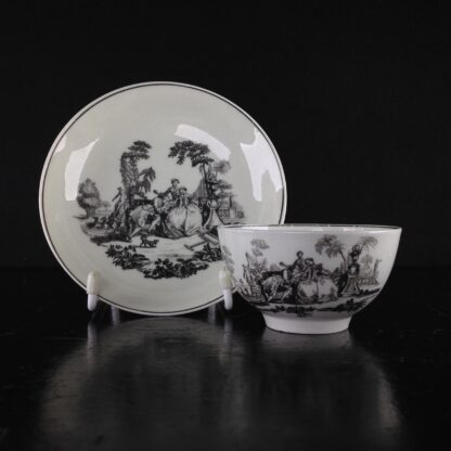 Worcester teabowl & saucer, Hancock's L'Amour prints, c. 1765 -0