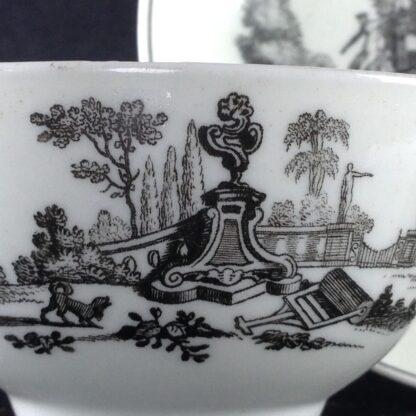 Worcester teabowl & saucer, Hancock's L'Amour prints, c. 1765 -3382