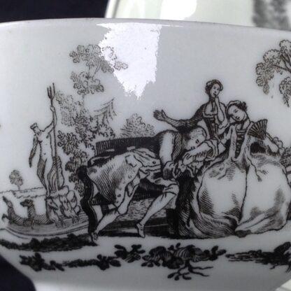 Worcester teabowl & saucer, Hancock's L'Amour prints, c. 1765 -3383