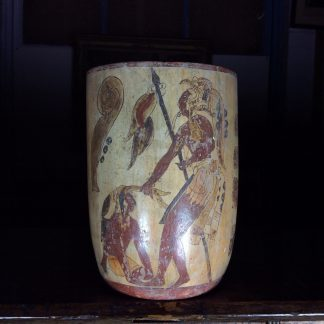 Mayan beaker vessel, Warrior with captive, 600-900 AD -0