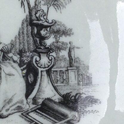 Worcester teabowl & saucer, Hancock's L'Amour prints, c. 1765 -3385