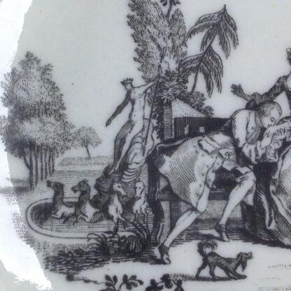 Worcester teabowl & saucer, Hancock's L'Amour prints, c. 1765 -3386