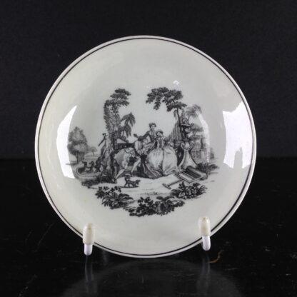 Worcester teabowl & saucer, Hancock's L'Amour prints, c. 1765 -3387