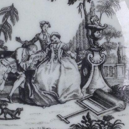 Worcester teabowl & saucer, Hancock's L'Amour prints, c. 1765 -3388