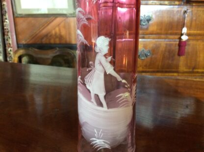 Victorian Mary Gregory Ruby glass vase, c.1890 -287
