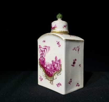 Frankenthal tea canister & cover, scenes in purple, c. 1765 -7340