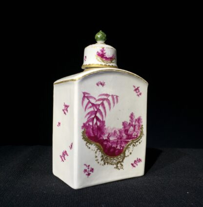 Frankenthal tea canister & cover, scenes in purple, c. 1765 -7341