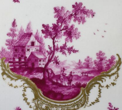 Frankenthal tea canister & cover, scenes in purple, c. 1765 -7342