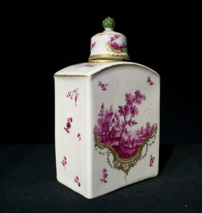 Frankenthal tea canister & cover, scenes in purple, c. 1765 -7343