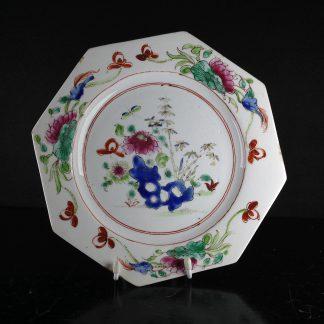 Bow octagonal plate, flower & rock pattern, c.1755 -0