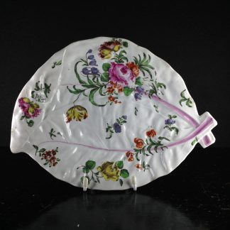 Worcester leaf shaped dish, scattered flowers, C. 1758 -0