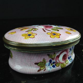 English enamel box, Gingham & flowers, circa 1760 -0