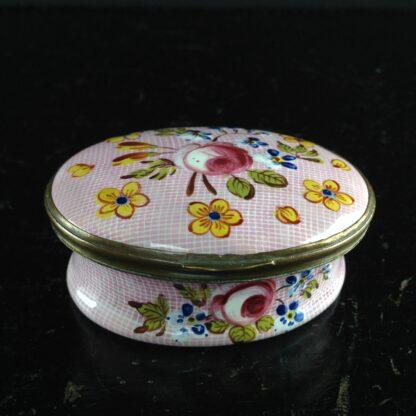 English enamel box, Gingham & flowers, circa 1760 -3890