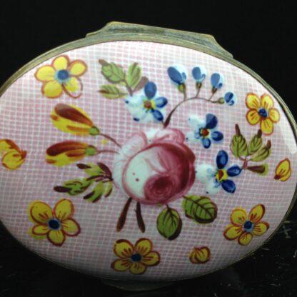English enamel box, Gingham & flowers, circa 1760 -3891