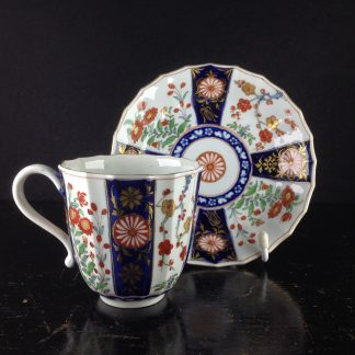 Worcester fluted Queen's Pattern coffee cup & saucer, C. 1770 -0