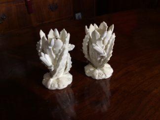 Pair Moore Bros small cactus vases, C.1890. -0