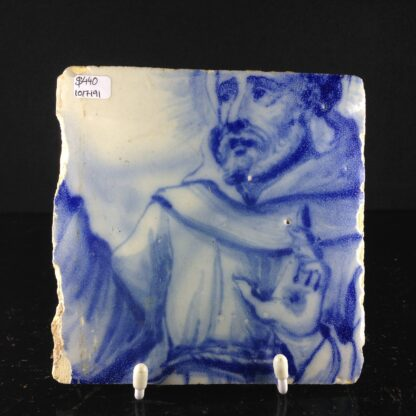 Spanish tinglaze tile, saint, c. 1650 -0
