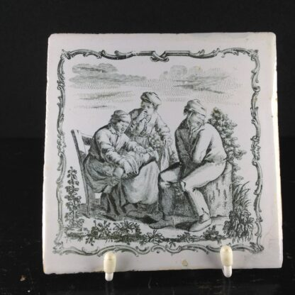Liverpool delft tile with Sadler print, a smelly baby, c.1760. -0