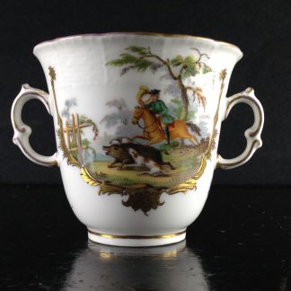 Berlin chocolate cup, hunt scenes, circa 1780 -0