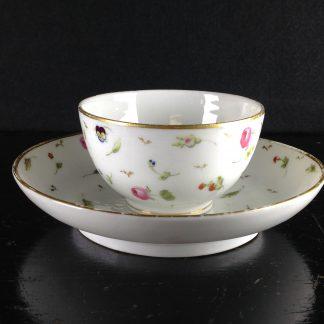 Nyon teabowl & saucer, flower heads, circa 1785 -0