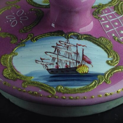 English enamel mustard pot, pink ground with landscapes, c.1770 -4413