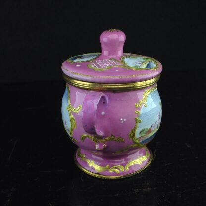 English enamel mustard pot, pink ground with landscapes, c.1770 -4414